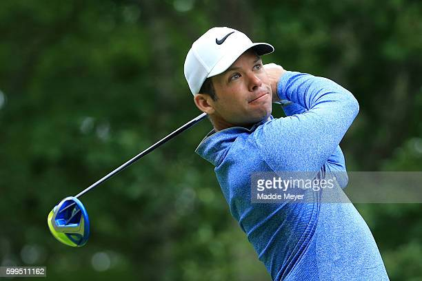 Paul Casey of England plays his shot from the second tee during the final round of the Deutsche Bank Championship at TPC Boston on September 5, 2016...
