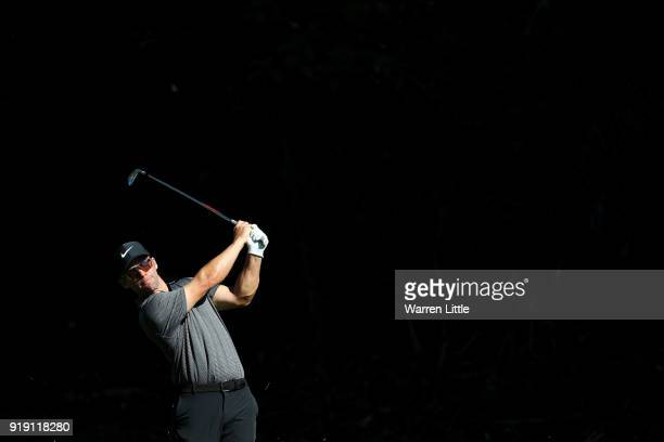 Paul Casey of England plays his shot on the 12th hole during the second round of the Genesis Open at Riviera Country Club on February 16 2018 in...