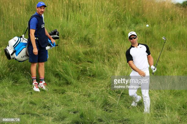 Paul Casey of England plays his shot on the 14th hole during the second round of the 2017 US Open at Erin Hills on June 16 2017 in Hartford Wisconsin