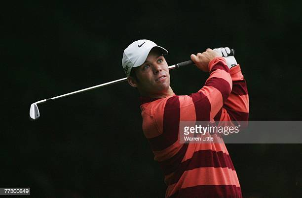 Paul Casey of England plays his tee shot on the 2nd during the Second Round of the HSBC World Matchplay Championship at The Wentworth Club on October...