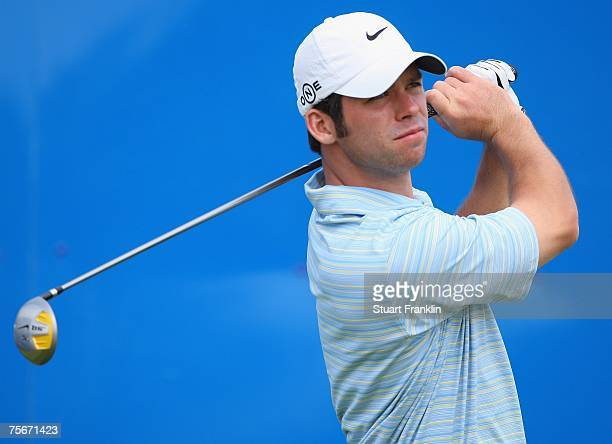 Paul Casey of England plays his tee shot on the nineth hole during the first round of The Deutsche Bank Players Championship of Europe at Gut Kaden...