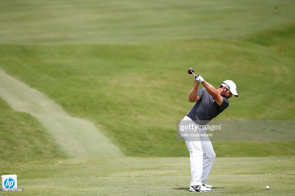 Paul Casey of England plays his tee shot on the second hole during the third round of the HP Byron Nelson Championship at the TPC Four Seasons on May 17, 2014 in Irving, Texas.