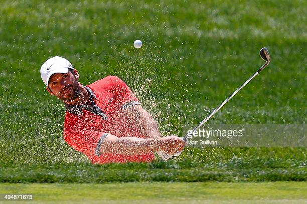 Paul Casey of England plays his third shot on the first hole during the third round of the Memorial Tournament presented by Nationwide Insurance at...