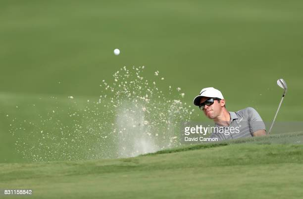 Paul Casey of England plays his third shot on the par 5 15th hole during the final round of the 2017 PGA Championship at Quail Hollow on August 13...