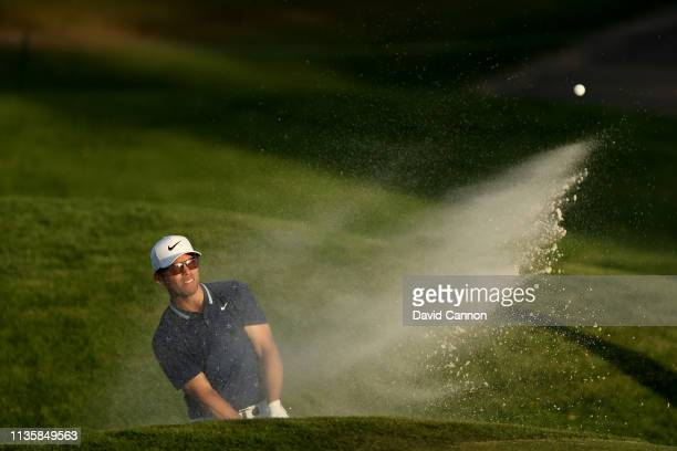 Paul Casey of England plays his third shot on the par 5 ninth hole during the first round of the 2019 Players Championship held on the Stadium Course...