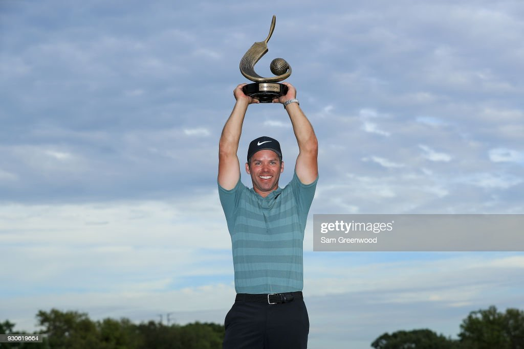 Paul Casey of England poses with the Valspar Championship trophy after winning at Innisbrook Resort Copperhead Course on March 11, 2018 in Palm Harbor, Florida.