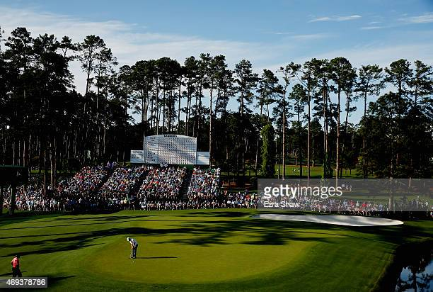 Paul Casey of England putts on the 15th green during the third round of the 2015 Masters Tournament at Augusta National Golf Club on April 11 2015 in...