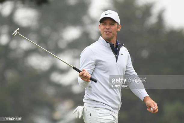 Paul Casey of England reacts after a par-saving putt on the tenth hole during the final round of the 2020 PGA Championship at TPC Harding Park on...