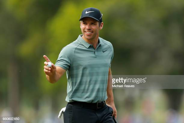Paul Casey of England reacts after a putt on the 16th hole during the final round of the Valspar Championship at Innisbrook Resort Copperhead Course...