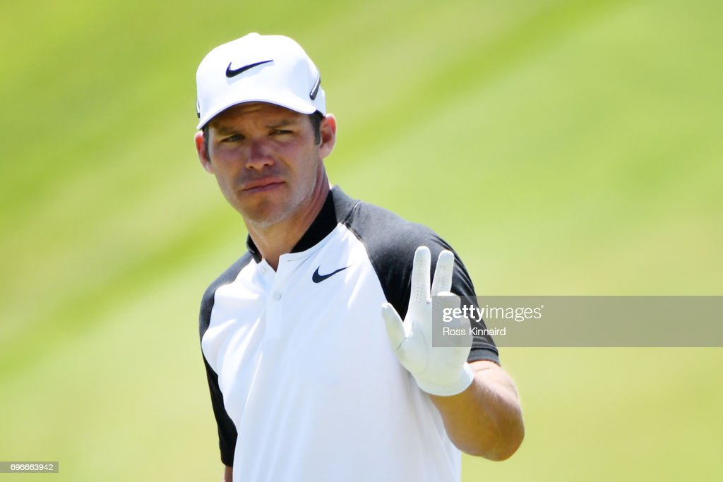 Paul Casey of England reacts after making par on the eighth green during the second round of the 2017 U.S. Open at Erin Hills on June 16, 2017 in Hartford, Wisconsin.