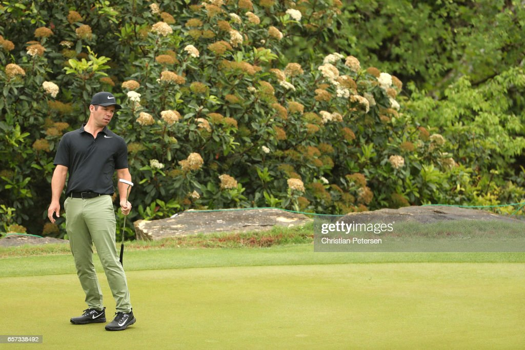 Paul Casey of England reacts after putting on the 3rd hole of his match during round three of the World Golf Championships-Dell Technologies Match Play at the Austin Country Club on March 24, 2017 in Austin, Texas.