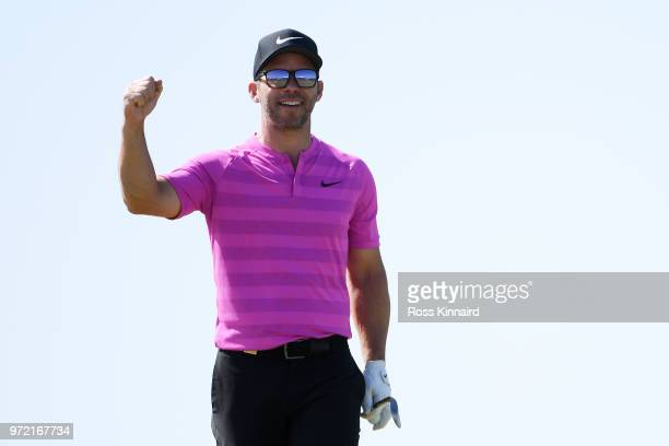 Paul Casey of England reacts on the 13th green during a practice round prior to the 2018 US Open at Shinnecock Hills Golf Club on June 12 2018 in...