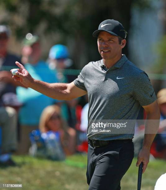 Paul Casey of England reacts on the fourth green during the third round of the Valspar Championship on the Copperhead course at Innisbrook Golf...