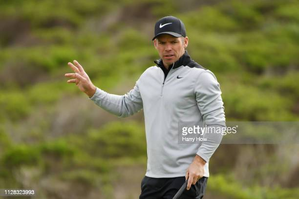 Paul Casey of England reacts to his birdie on the 15th green during the second round of the ATT Pebble Beach ProAm at Monterey Peninsula Country Club...