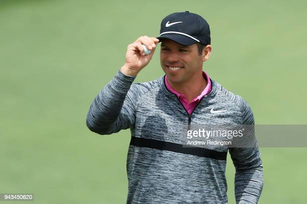 Paul Casey of England reacts to his birdie on the second green during the final round of the 2018 Masters Tournament at Augusta National Golf Club on...