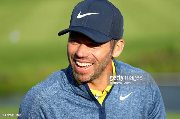 Paul Casey of England smiles after finishing his round during Day one of the Porsche European Open at Green Eagle Golf Courses - Porsche Nord Course...