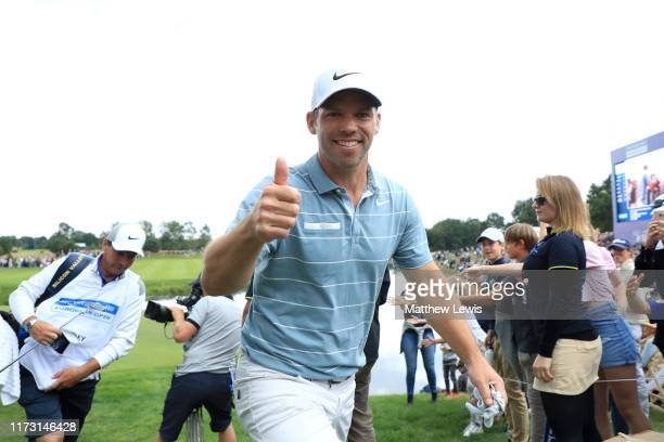 Paul Casey of England smiles as he walks off the 18th hole during Day 4 of the Porsche European Open at Green Eagle Golf Course on September 08, 2019...