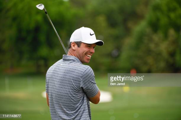 Paul Casey of England smiles on the driving range during the third round of the Wells Fargo Championship at Quail Hollow Club on May 4, 2019 in...