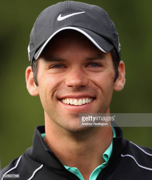 Paul Casey of England smiles on the tenth hole during the second round of The JP McManus Invitational ProAm event at the Adare Manor Hotel and Golf...