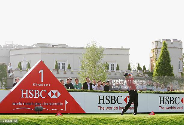 Paul Casey of England tees off at the 1st hole during the Final Round of the HSBC World Matchplay Championship at The Wentworth Club on September 17,...