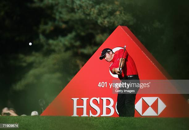 Paul Casey of England tees off at the 8th Hole during the Final Round of the HSBC World Matchplay Championship at The Wentworth Club on September 17,...