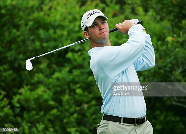 Paul Casey of England tees off on the 11th hole during the second day of practice at the 104th U.S. Open at Shinnecock Hills Golf Club on June 15,...