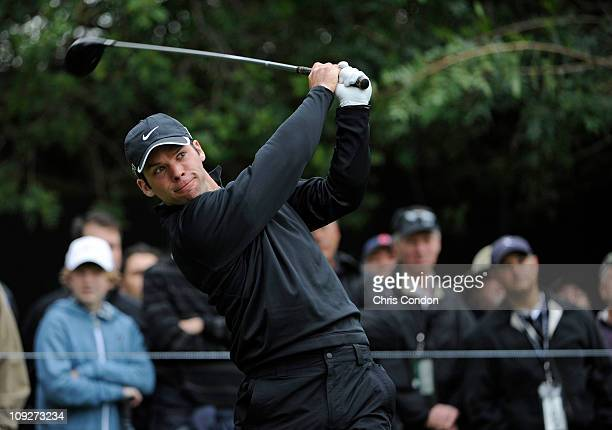Paul Casey of England tees off on the 11th hole during the second round of the Northern Trust Open at Riviera Country Club on February 18 2011 in...