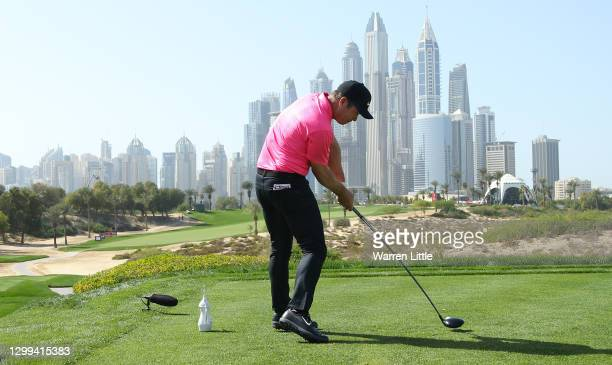 Paul Casey of England tees off on the eighth hole during the third round of the Omega Dubai Desert Classic at Emirates Golf Club on January 30, 2021...
