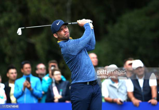 Paul Casey of England tees off on the second during Day one of the Porsche European Open at Green Eagle Golf Courses Porsche Nord Course on September...