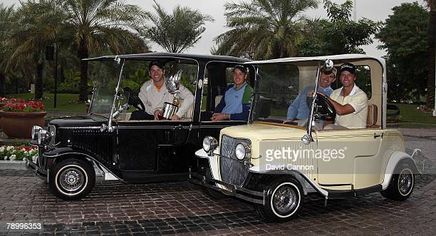 Paul Casey of England the holder of the trophy with Henrik Stenson of Sweden Padraig Harrington of Ireland and Adam Scott of Australia prior to the...