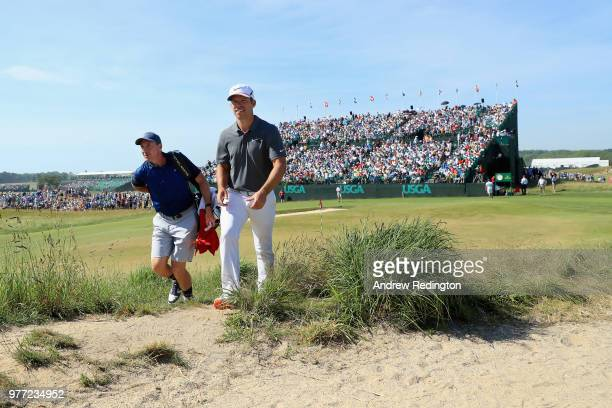 Paul Casey of England walks off the eighth green during the final round of the 2018 US Open at Shinnecock Hills Golf Club on June 17 2018 in...