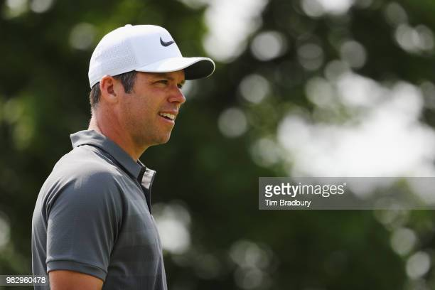Paul Casey of England walks on the fifth hole during the final round of the Travelers Championship at TPC River Highlands on June 24 2018 in Cromwell...