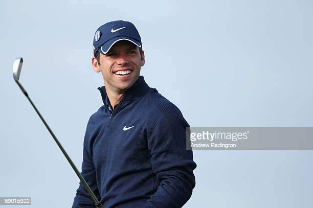 Paul Casey of England watches a tee shot on the second hole during a practice round prior to the 138th Open Championship on July 14 2009 on the Ailsa...