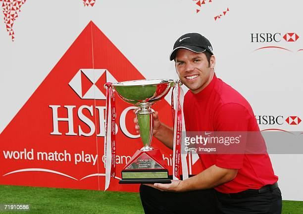 Paul Casey of England with the trophy winning the HSBC World Matchplay Championship at The Wentworth Club on September 17, 2006 in Virginia Water,...