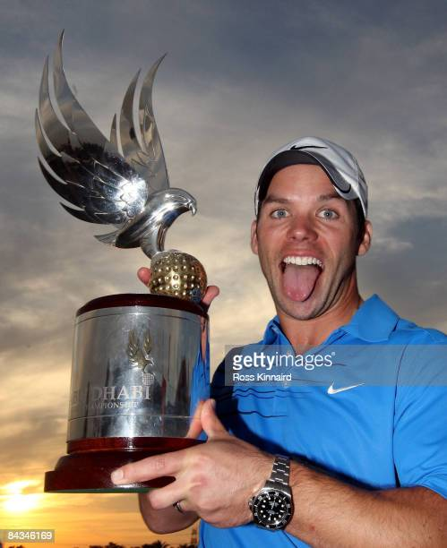 Paul Casey of England with the winners trophy after the final round of the Abu Dhabi Golf Championship at the Abu Dhabi Golf Club on January 18 2009...