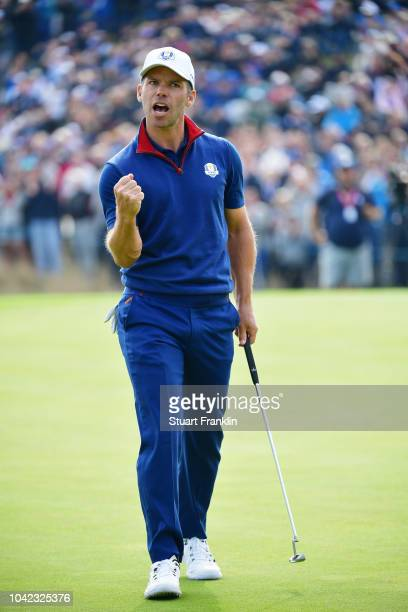 Paul Casey of Europe celebrates during the morning fourball matches of the 2018 Ryder Cup at Le Golf National on September 28 2018 in Paris France