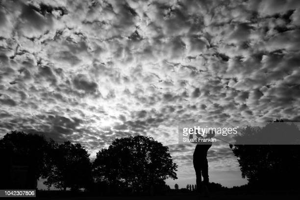 Paul Casey of Team Europe tees off during the morning fourball matches of the 2018 Ryder Cup at Le Golf National on September 28, 2018 in Paris,...