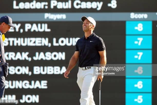 Paul Casey reacts to almost making a birdie on the final hole of the tournament during the final round of the Valspar Championship on March 24 at...