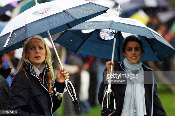 Paul Casey's girlfriend Jocelyn Hefner and Luke Donald's fiancee Diane Antonopoulos watch the action during the morning fourballs on the second day...