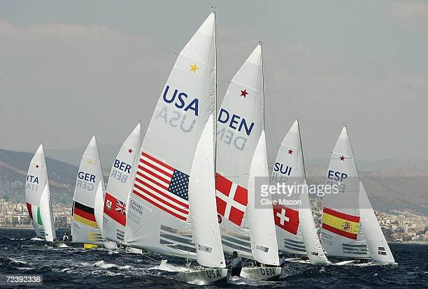 Paul Cayard and Phil Trinter of USA in action in the men's keelboat star race on August 23 2004 during the Athens 2004 Summer Olympic Games at Agios...