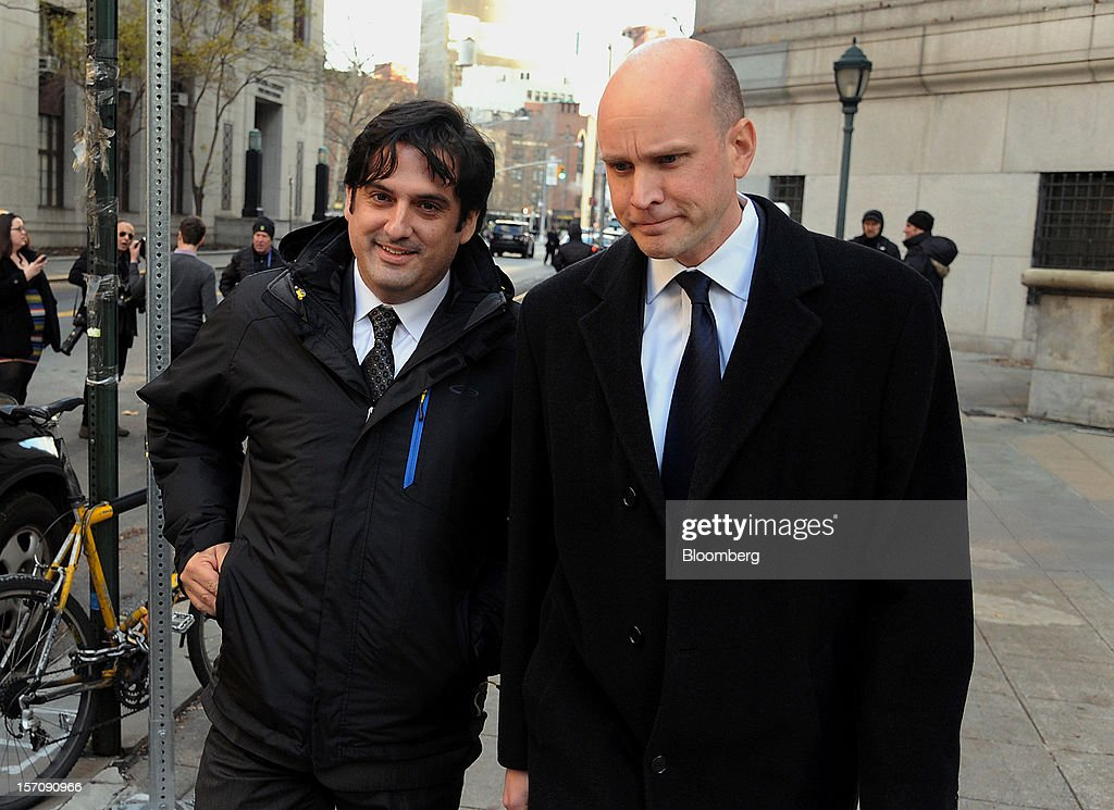 Paul Ceglia, indicted on charges of mail fraud and wire fraud, left, exits federal court with his attorney, Dean Boland, in New York, U.S., on Wednesday, Nov. 28, 2012. Ceglia, 39, pleaded not guilty to criminal charges that he faked evidence in his contract lawsuit against Facebook Inc. and its chief executive officer, Mark Zuckerberg. Photographer: Peter Foley/Bloomberg via Getty Images