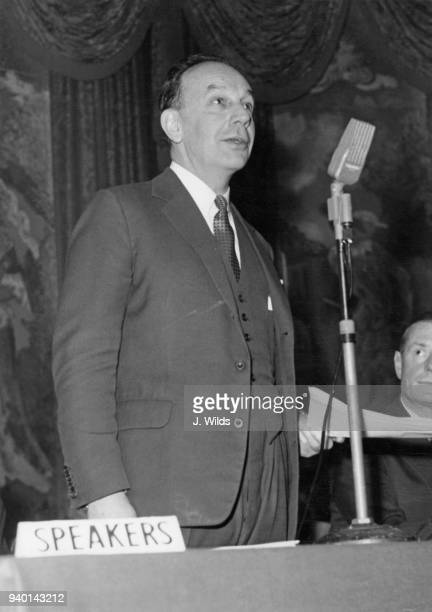 Paul Chambers chairman of ICI addresses a conference of the Wider Share Ownership Committee at the Cafe Royal in Regent Street London 20th March 1962