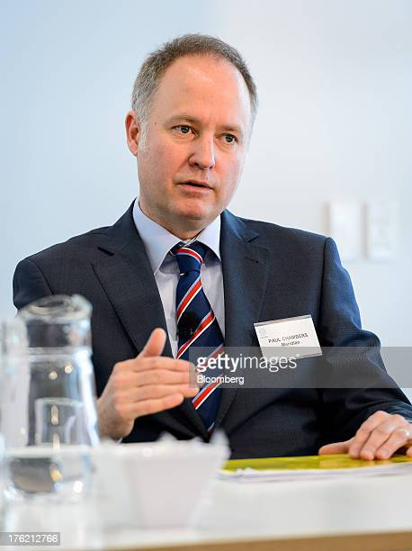 Paul Chambers chief financial officer of Meridian Energy Ltd speaks during a news conference in Wellington New Zealand on Monday Aug 12 2013 Meridian...