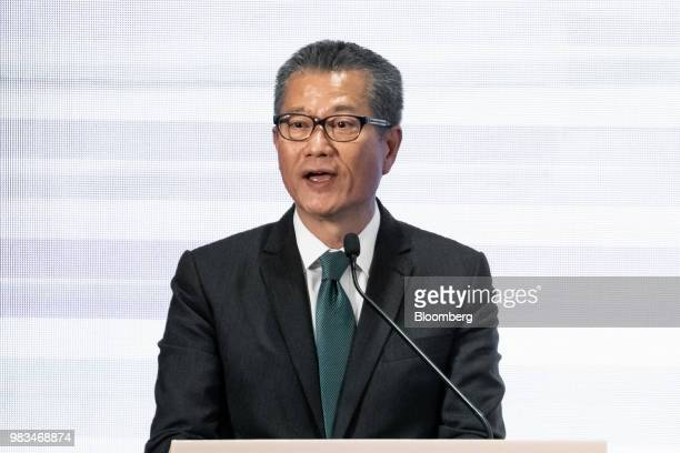 Paul Chan Hong Kong's financial secretary speaks during a news conference in Hong Kong China on Monday June 25 2018 Billionaire Jack Ma has declared...