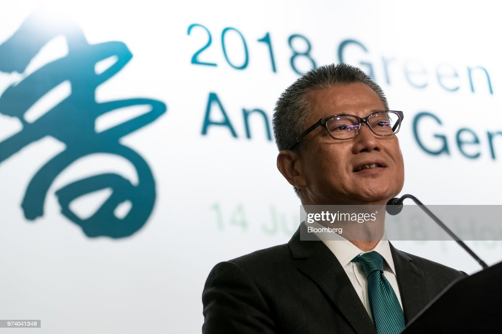 Paul Chan, Hong Kong's financial secretary, speaks during the Green and Social Bond Principles annual general meeting and conference in Hong Kong, China, on Thursday, June 14, 2018. The one-day event was co-organized by the Hong Kong Monetary Authority (HKMA) and Hong Kong Financial Services Development Council (FSDC). Photographer: Anthony Kwan/Bloomberg via Getty Images