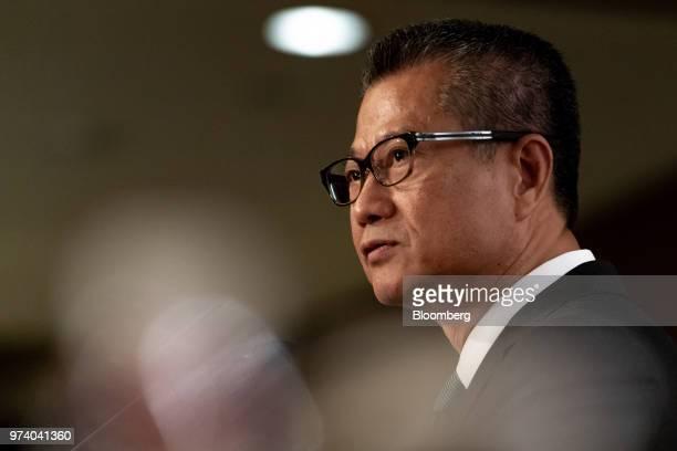 Paul Chan Hong Kong's financial secretary speaks during the Green and Social Bond Principles annual general meeting and conference in Hong Kong China...