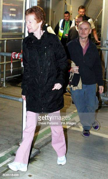 Paul Chandler and his wife Rachel Chandler 60 from Tunbridge Wells Kent arrive back in the UK at Heathrow Airport after being freed from being held...