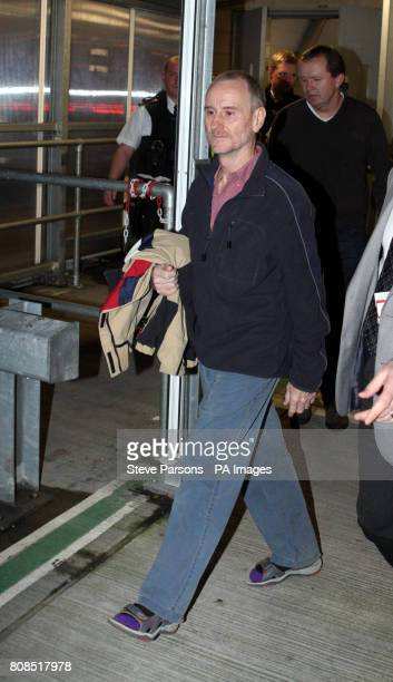 Paul Chandler from Tunbridge Wells Kent arrives back in the UK at Heathrow Airport after being freed from being held captive by Somali pirates for...
