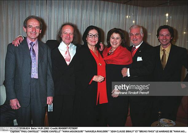 Paul Chapelle 'Andre Chapelle' 'Nana Mouskouri' 'Manuela Pavlidou' 'Jean Claude Brialy' and 'Bruno Finck' the wedding of 'Nana Mouskouri' in Geneva