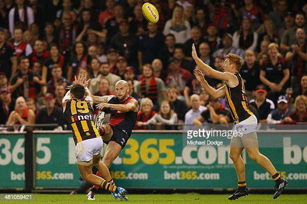 Paul Chapman of the Bombers kicks a goal during the AFL Round two match between the Essendon Bombers and the Hawthorn Hawks at Etihad Stadium on...